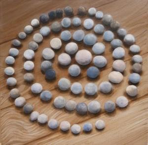 Stone Circle 1-Kettles' Yard. 45x45cm. Acrylic on linen