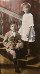 Alan and Ruby Oil and photo transfer on linen 34cmx59cm My mother and Uncle Alan as children.