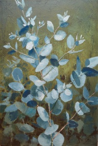 Baby Blue Gum Acrylic on linen 51cmx76cm Blue gum was only really 'blue' as new shoots appeared, from old stumps.