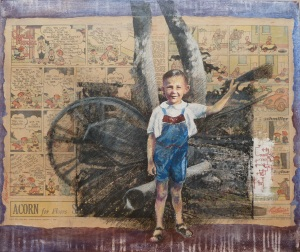 First Friend Coloured pencil, collage & photo transfer on canvas 61cmx51cm Geoffrey Donald (3-years old in this picture) was the eldest of my three younger brothers, and only 13 months younger than myself. He was totally absorbed in anything mechanical, and his first drawings were of electrical circuits. Here he is in his favourite place, dad's 'scrap metal heap'. The circuit here is traced from an original, and the paper is from 1946. Just before his 21st birthday Geoff was killed in a road accident.