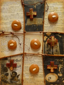 Honey Biscuits & Holy Things Plaster, vine and photo transfer on board 54cmx41cm