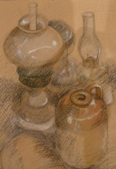 Lamps and Stone Jars Oil pastel and graphite
