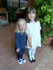 Grace and Emilie. both now ready for the night