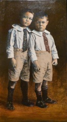 Syd and Perc Oil and photo transfer on linen 34cmx59cm My father and Uncle Syd as children.