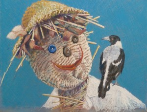 White Collar Worker Pastel 75cmx62cm The scarecrow in Josie's and Simon's Rosedale garden did little to discourage the bird population.