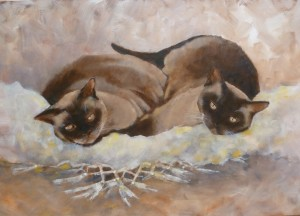 Mocha and Milo Oil on Board 70cms x 48cms