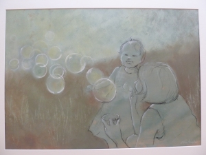 Molly's Bubbles Charcoal & Acrylic on Paper 71cm x 50 cm