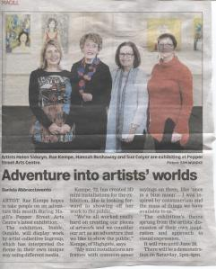 The photo and article in The Messenger, the week before the exhibition opening.